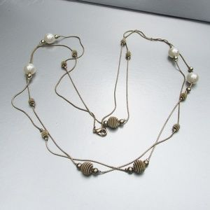 "Jewelry - 1970's Vtg 58"" Long Chain Faux Pearl Bead Necklace"